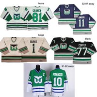Wholesale Goalie Hockey - 2016 New, 2014 new Custom white green black blue Hartford Whalers jersey Home road Goalie Cut jersey Embroidery Logo Sew Any Name NO.