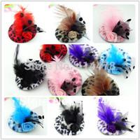 accesorio para el cabello mini diadema al por mayor-2013 nueva linda moda Girls Hair Clip de plumas, niños accesorios para el cabello, Fascinators y Mini Top sombreros con clip Tiaras Leopard Hat