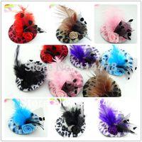 tüy tiaras saç aksesuarları toptan satış-2013 yeni sevimli moda kızlar tüy saç tokası, çocuklar saç aksesuarları, fascinators ve mini üst şapkalar klip Tiaras leopar şapka