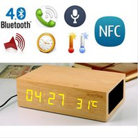 Wholesale Mini Clock Temperature - Oak Wooden Bluetooth Alarm Clock Stereo Speaker w  LED Time+Temperature Display+NFC+USB Charger+Handsfree bluetooth speaker with retail box