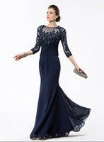 Wholesale Dreses Sleeves 16 - 2016 Sexy Mother Of Bride Dresses Illusion Neck Long Sleeves Lace Appliques Beads Navy Blue Chiffon Cheap Formal Bride Wedding Guest Dreses
