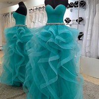 Wholesale 14 W Royal Blue Dress - Light Green Tiered Floor Length Prom dresses Sweetheart Corset Women formal Wear Gowns Junior Birthday Dress Quinceanera Lace Up With sash W