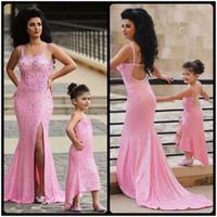 Wholesale Dresses For Mother Kids - Pink Sequined Mother And Daughter Matching Dress With Crystal Spaghetti Strap Slit Mermaid Prom Dresses 2016 Newest Evening Dress For Kids