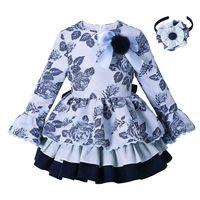 Wholesale novelty wears kids for sale - Group buy Pettigirl Blue Grace Flower Kids Girls Dresses Brand Ruffle Dress Spring And Autumn Children Clothes Casual Wear For Kids G DMGD008 B98