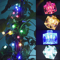 Wholesale Light Cube Led Battery - Wholesale- New Hot 40-LED Battery Operated Decorative Diwali Ice Cube String Lamp Fairy Lights Christmas Wedding Party Decorations --M25