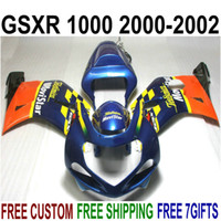 Wholesale Gsxr Movistar Fairing - Customize fairing kit for SUZUKI GSX-R1000 K2 2000 2001 2002 orange blue Movistar fairings set 00 01 02 GSXR 1000 bodykits V68S