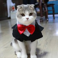 Wholesale Fantasy Pet Black Suit Gentle Cat Costumes Formal Party Animal Costume Pet Clothing with Red Bow Tie Wedding Apparel