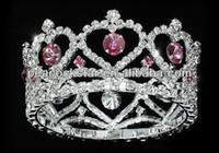couronnes rondes achat en gros de-Gros-gros fleur fille / bébé coeur cristal Full Circle ronde rose Mini Couronne Tiara CT1777