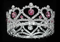 Wholesale Baby Crystal Crowns - Wholesale-Wholesale Flower Girl   Baby Heart Crystal Full Circle Round Pink Mini Crown Tiara CT1777