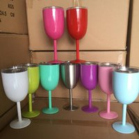 Wholesale wedding gift goblets - 10oz Goblet Vacuum Stainless Steel Cocktail Glass Wine Creative Winecup Durable Glass Goblet with Lid Drinking Ware Glass 9color