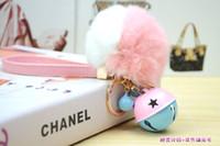 çan poşetleri toptan satış-2016 moda Kore çift renk çan Tavşan kürk topu anahtarlık çanta telefonu Lady moda anahtarlık