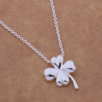 Wholesale Clover Flower Necklace - Free Shipping with tracking number Best Most Hot sell Women's Delicate Gift Jewelry 925 Silver Clover Necklace