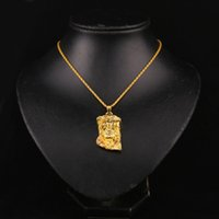 Wholesale Necklace Diamond Texture - 2016 best selling New hot texture Jesus necklace HIPHOP hip-hop jewelry Jesus Avatar small pendant In Stock