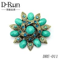 Wholesale Retro Topaz - Free postage 2016 fashion jewelry trade in Europe and America retro alloy diamond brooch wholesale manufacturers