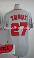 Wholesale Baseball Signature - 2016 New Stitched Mike Trout Jersey Red,Grey Signature,White Men 27 Trout cool base Jerseys,Free Shipping Los Angeles Baseball Jersey