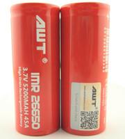 Wholesale Tool Battery China - AWT 26650 5200mah 45A 3.7v 5200mah battery pack 26650 regulated box mod power tools from china mini volt mod