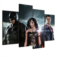 Wholesale nude oil woman painting - Wonder Woman Batman Superman,4 Pieces Home Decor HD Printed Modern Art Painting on Canvas (Unframed Framed)