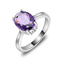 Wholesale Wholesale Jewelry 925 Usa - 2015 Time-limited Real Men's Rings 10pcs lot Wholesale Holiday Jewelry Gift Party Oval Amethyst Gems 925 Sterling Silver Ring Usa Size 7 8 9