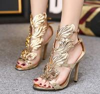 Wholesale thin metal heel sandals - Women High Heel Shoes Sexy Thin Metal Wings Sandals
