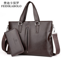 Wholesale White Briefcase Leather - FEIDIKABOLO New 2017 Leather Men Bags Men Crossbody Handbags Large Capacity Business Briefcase Male Shoulder Bag Top Combination