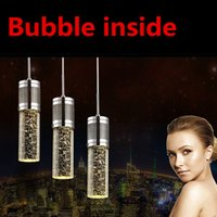 Wholesale Crystal Chandeliers Lamp Shade - Modern light Crystal Pendant Lamp Bubble Crystal Light with LED Bulb Cylinder Shade Droplight Chandelier Ceiling Light Bar Dining Room Light
