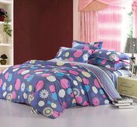 Wholesale Discount Bedding Quilts - Wholesale-pink grey blue polka dot prints cotton bedding discount bedlinen cheap bed set queen full quilt duvet covers sets for comforter