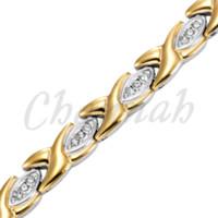 Wholesale Hong Kong Free Shipping - 2-Tone Silver 18K Gold Ionic Plating Magnetic Health Ladies Bracelet with 39pcs Crystals Free Shipping Bangle via Hong Kong Post