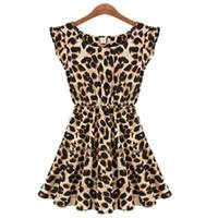 Wholesale Sexy Girls Mini Clothes - Summer Dresses S-XXL Vestido Plus Size Leopard Fashion Print Slim Beach Dress Girl Club Sexy Knee Vestidos Women Clothing S072