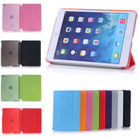 Wholesale Fold Magnetic Smart Cover Matte Clear Transparent PU Leather Case For iPad Air Mini iPad Pro With Auto Sleep Wake