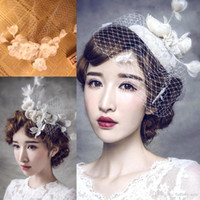 Wholesale Barrette Net - $9.99 Free Shipping Cheapest 2016 New Vintage Wedding Hair Flower Bridal Accessory Lace Net Beaded Flower Hair Pin Bridal Decoration CPA513