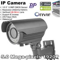 Wholesale Camera Cctv 42 Leds - Security camera ONVIF1920P waterproof 42 Pcs IR Leds 5.0 MP Varifocal 2.8-12mm lens Full HD motion detect H.264 CCTV IP Camera