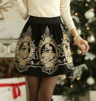 Wholesale Skirt High Waist Free Shipping - 2017 Embroidery Vintage Black Puff Skirts S M L XL Plus size High Waist Retro Office workwear Bottoms Clothing faldas Skirt Free Shipping