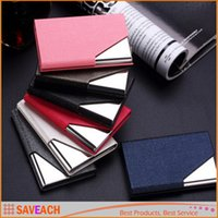Wholesale Metal Name Business Card Case - Luruxy PU Leather Business Credit Name Id Card Holder Case Wallet Credit Card Holder Leather Bag Passport Cover Card Holder