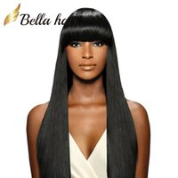 Wholesale remy human hair bangs online - 150 Density Silky Straight Full Lace Wigs Indian Remy Human Hair Wigs with Cute Neat Bang Lace Wigs Julienchina Bella Hair