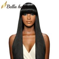 perruques indiennes de cheveux pleins de dentelle achat en gros de-Perruques 100% de densité soyeuse droite en dentelle Perruques 100% de cheveux humains Remy indiens avec perruque mignonne Bang Lace Lace perruques Julienchina Bella cheveux