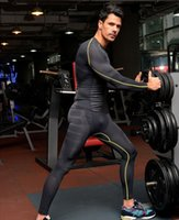 Wholesale Hot Mens Shirts - Hot sale mens compression tights set Quickly dry Long sleeve mens compression tight base layer T shirt + Bottoms running Bodybuilding GYM