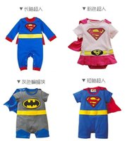 Wholesale Girls Superman Style Romper - 2015 Baby One-Piece baby Rompers boys girls Superman style Romper Super Man Rompers Batman Clothes 9 styles