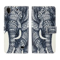 Wholesale Elephant Design Cases - Wholeale Cute Animal Elephant Design Wallet PU Leather Case For Huawei Ascend G620S With Stand Card Slot Phone Back Cover Magnetic Buckle