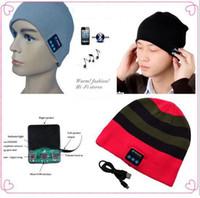 наушники с несколькими динамиками оптовых-Bluetooth Music Hat Soft Keep Warm Beanie Cap Стерео Наушники Динамик Беспроводной Микрофон Многофункциональный Голос Беспроводные Крышки