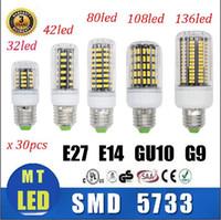 Wholesale E27 35w - X30 DHL Free ship High Power Led corn light SMD 5733 7W 12W 18W 22W 25W 35W led Bulbs E27 E14 GU10 G9 Led Lights AC 85-265V Spot Lamparas