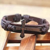 pulseiras de metal vintage venda por atacado-Atacado-Scripture Cross Pulseira de metal do vintage jóias pulseira de couro modelos quentes B2