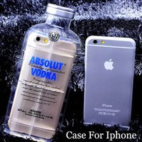 Wholesale Wholesale Bottles For Alcohol - Phone Cases For Iphone 6 5 5S 4 4S 6 plus Cell Phone Protective Shell Luxury absolute Vodka alcohol Wine Bottle Free Shipping
