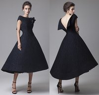 Wholesale Daffodil Bubble Dress - Krikor Jabotian 2016 Black Prom Dresses Backless Lace Formal Party Cocktail Dress Bateau Bubble Evening Gowns 2015 Free Shipping Plus Size