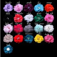"Wholesale Mini Flowers For Hair Clips - 15% off 2015 new (60pcs)2"" 20 Colors Mini Chiffon Flowers With Pearl Rhinestone Center Hair Clips Lace Flower For Baby Hair Accessories"