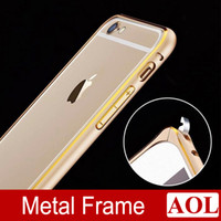Wholesale Double Color Metal Aluminum Case - Circle Arc No Screw Aluminum Metal + Double Color Bumper for iphone 6 plus Frame Bumpers Cover Case for iphone 6 5s