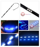 Wholesale Coin Cart - Wholesale-[Coins Cart] 5050 SMD 15 Led Lamp String Waterproof Flexible Car Bar Light Strip 30CM Blue wholesale