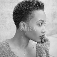 Wholesale Celebrity Human Hair Lace Wigs - Cheap Human Hair Wigs Afro Kinky Curly Brazilian Hair Afro Kinky Natural Black Human Hair None Lace Glueless For Black Women Wigs Celebrity