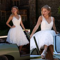 Wholesale Simple Long Dresses For Beach - Vintage 2015 Summer Knee Length Wedding dresses for Beach Wedding Party with Sheer V Neck Backless Cap Sleeve Beaded Lace Short Bridal Gowns