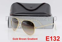 Wholesale Light Brown Frame Glasses - 1pair Designer Classic Pilot Gradient Sunglasses For Man Woman Metal Sun Glasses Eyewear Gold Light Brown 58mm Glass Lenses With Box Case