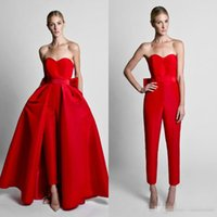 lace up strapless detachable train 2018 - Krikor Jabotian Red Jumpsuits Celebrity Evening Dresses With Detachable Skirt Sweetheart Strapless Satin Guest Dress Prom Party Gowns
